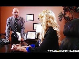 Busty blonde MILF offers her intern a job