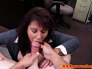 POV blowjob milf in XXX pawnshop seat of government deal