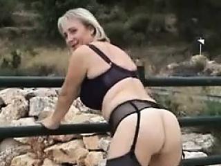 Blonde Nurturer Masturbating Outdoors