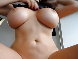 Colossal breast on dildo shafting milf
