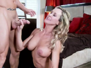 Busty housewife in underclothing gets tits cumshot