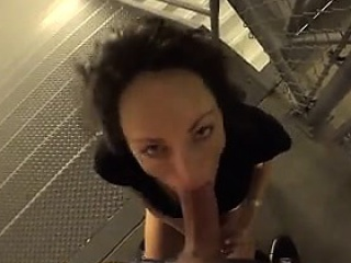 Swinger MILF takes load of shit on public stair  - Affair outlander MILF-
