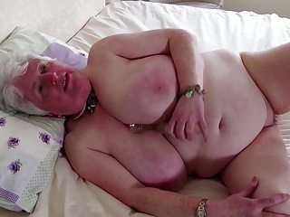 Grey granny with big pair and thirsty vagina