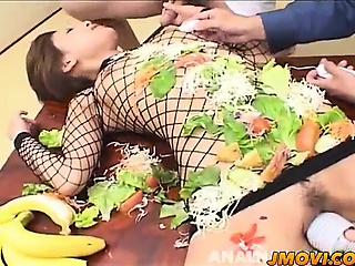 Saku sucks banana plus gets vibrator