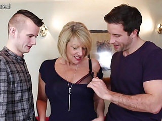 Hot British mother sucking and screwing two young boys