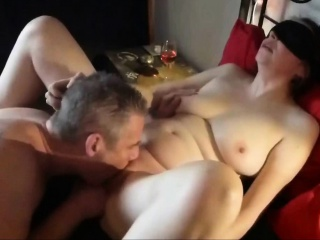 Marketable amateur MILF rammed by two males