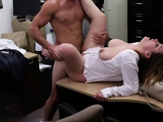 Bouncy tits MILF kneels with respect to blow cock