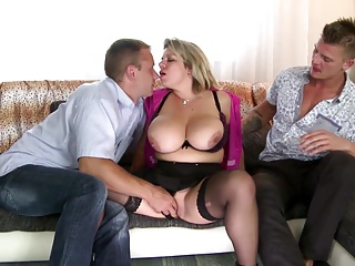 Two guys fuck luxurious plus busty matured mom