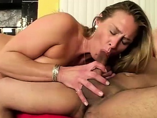 Horny Mature Blonde Rides A Young Supplicant