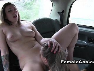 Lesbians horde selfie surcease intercourse in hansom cab