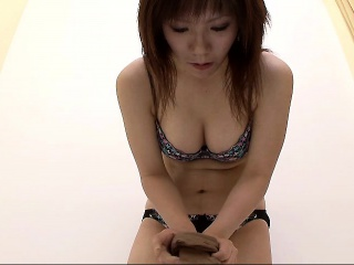 Busty Asian ecumenical gets nude and tries out of reach of a bikini out of reach of hidde