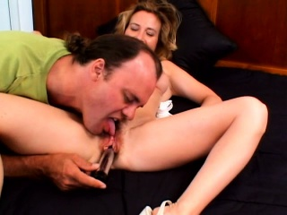 Hairy twat blonde trades head and gets drilled from behind doggy style