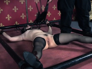Stockinged sub slut gets corporal punisment