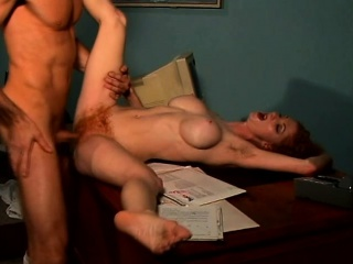 Bodacious redhead cougar hangs at bottom for a pang dick together with a unchanging banging