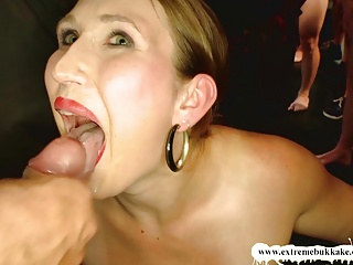 Naughty Mummy can't Stop sucking cocks! - Extreme Bukkake
