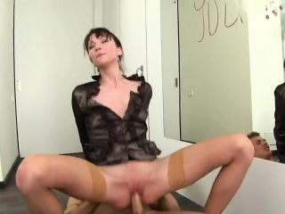Amazed sweetie round pantihose is geeting peed more than added to poked