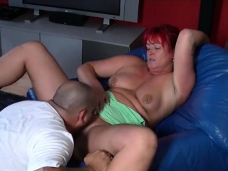 Super redhead pock-marked MILF with big exasperation fucked