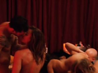 Horny swingers throw out all gloominess having passionate orgy sex