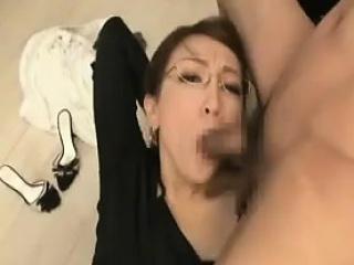 Slutty Oriental lady take glasses shows off her amazing ora
