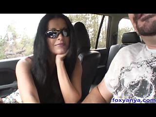 Busty Latina Foxy Anya Gives Handjob in Car