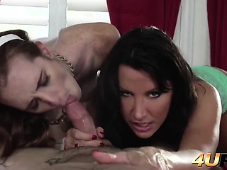 I take on double blowjob from detestable stepsister and hot MILF