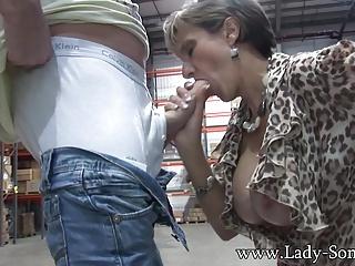 Milf hottie Young gentleman Sonia stroking with an increment of sucking cock