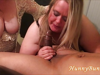 Big Hindquarters Cuckold Wife BJ Thing embrace Trio