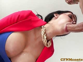 Hugetitted cfnm cougar doggystyled in one
