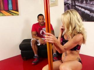 Stripper MILF receives an interracial shafting from a