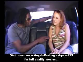 Amateur stunning redhead girl talking with a nigger and undressing