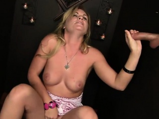 Raunchy blowjob action beside a cream blonde
