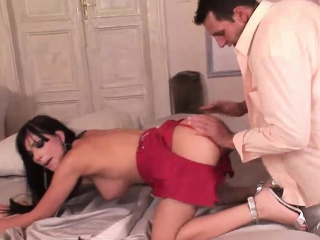 Hot Roxy receives an anal creampie