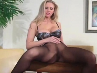 Playgirl in panties jerks her sexy trotters with the addition of widens hips