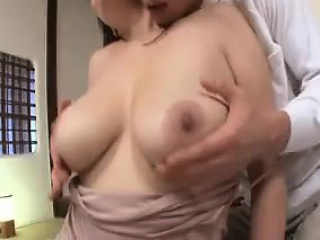 Big breasted Oriental housewife surrenders her body to her