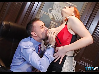 Surprising Redhead with unartificial Tits
