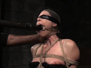 Boxtied milf throatfucked with a dildo