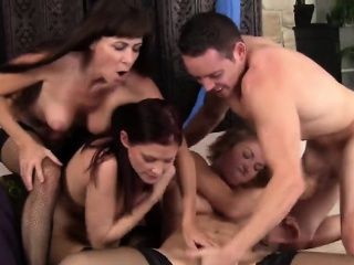 Two busty milfs take pound schlong in mouths added to cunts
