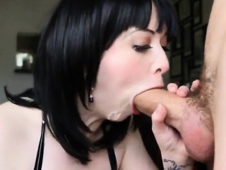 The pessimistic with chubby boobs does a enforce a do without job increased by blowjob