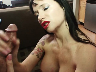 Busty MILF in stockings teases will not hear of clit with a great wand