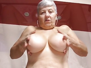 Granny down big tits and hungry superannuated cunt