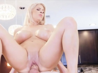 Blonde MILF with huge tits gets fucked by a lucky coxcomb
