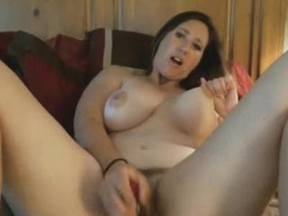 Chubby Brunette Cougar Enjoys Toying Prudish Pussy