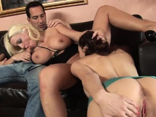 Two busty cougars share a beamy shaft