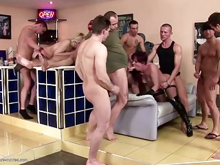 Desperate adult housewives gets pissing after gangbang