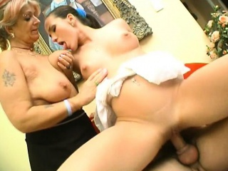 Busty amateur Milf hardcore threesome action