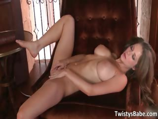 Awesome horny brunette with huge breasts part6