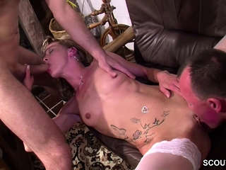 German Bungling Teen prevalent Stockings prevalent Thresome with duo Guys