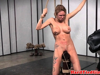 Bigtitted babe gagged and constrained up by maledom