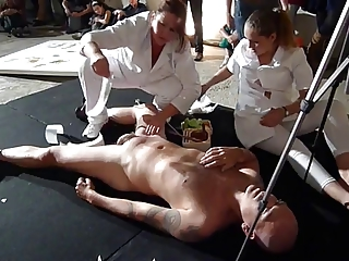two MILFS wax fully naked man