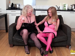 OldNannY Two full-grown Lesbians Playing in the matter of Toys